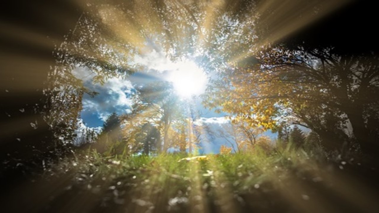 太陽の光が四方八方に射している