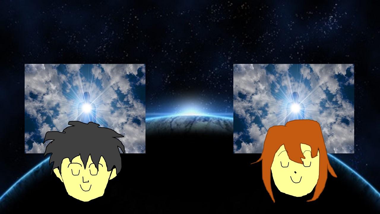 宇宙を背景に宇宙エネルギーを味方にしながら生きている男性と女性の喜びの表情