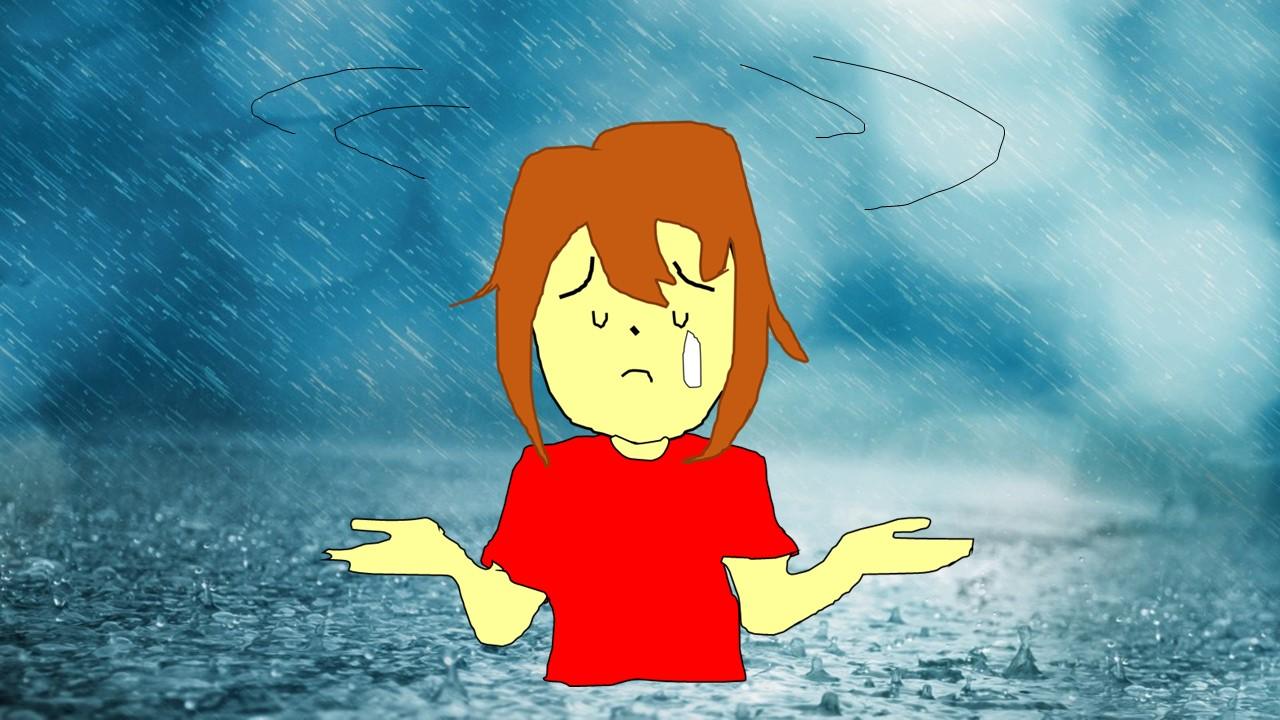 両手を手の平を上に向けて、困っている雨の中の女性