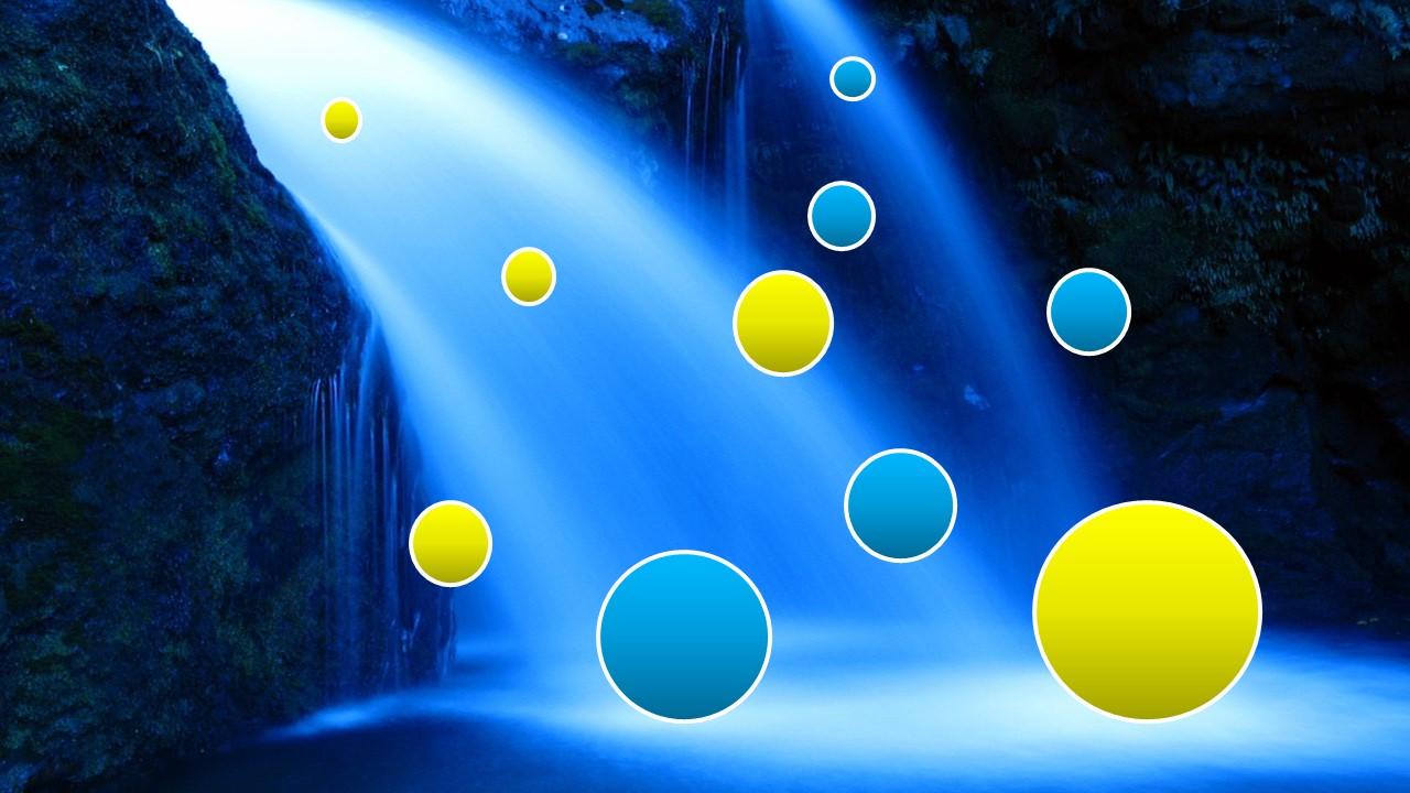 聖なる滝から、幸せのゴールドの玉と不幸のブルーの玉が同じ数ずつ生み出されている