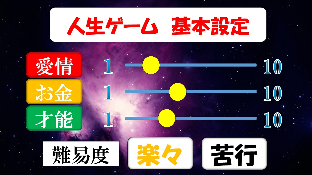 人生ゲーム基本設定の操作画面
