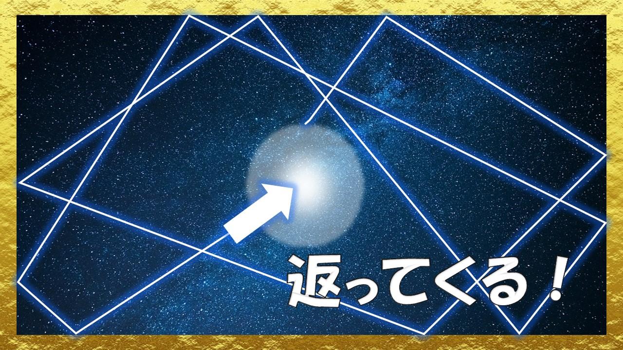 放った喜び波動は、宇宙に行き渡り、必ず返ってくる
