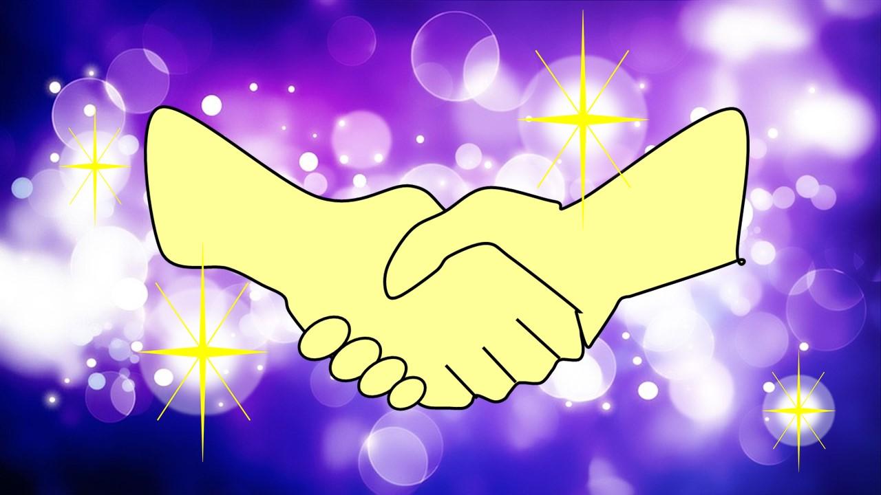 自分と自分が握手している様子